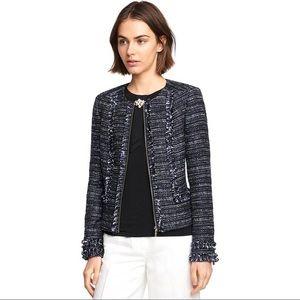 Karl Lagerfeld Cropped Tweed Fringed Jacket